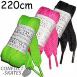 Boot Laces 220cm Wide Flat 4 Quad Skates Roller Derby Choose- Pink or Black